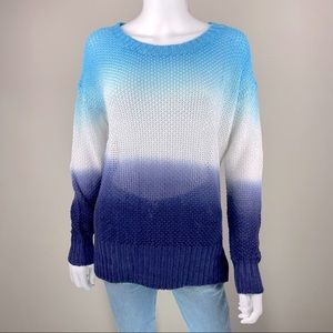J CREW Blue Dip Dye One Of A Kind Sweater